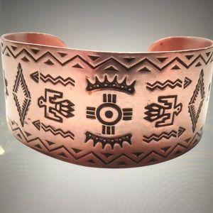 💕 Solid Copper Cuff Bracelet, Native American 💕